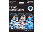 3 Pack Camouflage Style Neck Gaiter 3 Asst Colors