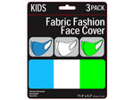 3 Pack Kids Neon Colored Washable Face Mask 3 Asst