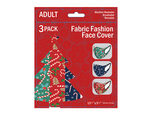 3 Pack Adult Christmas Candy Canes & Gingerbread Washable Face Mask