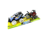 Toy sports vehicle with hauler and forklift