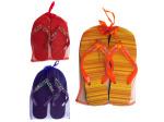 Beaded sandals in mesh carrying bag