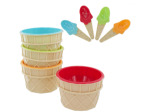 Ice Cream Bowls & Matching Spoons Set