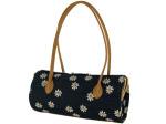 Daisy Denim Tube Handbag with Tan Handles