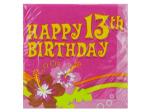 16 count happy 13th birthday aloha napkins