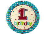 8 pack 1st birthday blue dots 8 3/4 inch plates