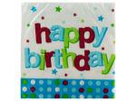 16pack 1st blue dots happy birthday beverage napkins