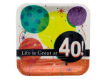 Life is Great at 40 Square Dinner Plates Set