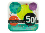 Life is Great at 50 Square Dinner Plates Set