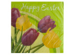 Happy Easter Tulips Lunch Napkins Set