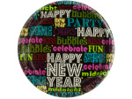 Happy New Year Word Art Party Plates