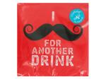 Red Mustache Beverage Napkins