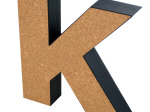 'K' Decorative Cork Board Letter