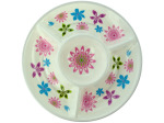 Four Section Floral Print Chip and Dip Dish