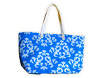 Blue Damask Canvas Tote