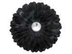 6 pack black fabric daisy w/jewel