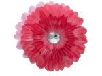 6 pack red fabric daisy w/jewel