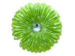 6 pack lime green fabric daisy w/white polka dots and jewel