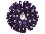 6 pack purple fabric daisy w/white polka dots and jewel