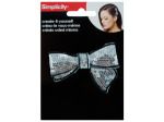 Silver Sequin Bow with Black Trim Headband Accent