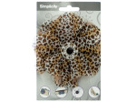 simplicty leopard knit flower with jewel accent