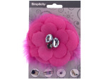 simplicity hot pink flower w/feathers/gems accent