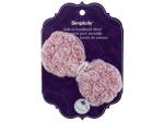 simplicity pink ruffle flower slide on headband accent
